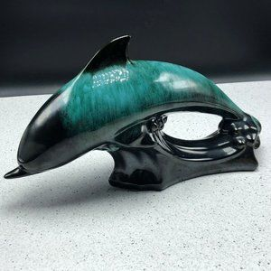 BLUE MOUNTAIN POTTERY DOLPHIN turquoise statue vtg